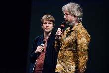 "Picture of Kristoffer Gansing (left) and Remco Schuurbies introducing the performance/installation ""Still Be Here"""