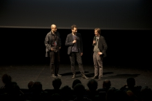"Picture of Robert Henke, Jan Rohlf and Kristoffer Gansing (left to right) introducing ""Lumiére"""