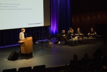 "Picture of Kristoffer Gansing (left) introducing the panel ""An Ecosystem of Excess"""