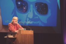 "Picture of Bruce Sterling at ""afterglow effects: transmediale 2014 opening ceremony"""