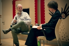 "Picture of Douglas Coupland (left) and Kristoffer Gansing (right) at the 2014 Marshall McLuhan Lecture ""Space Junk"""
