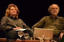 "Lioudmila Voropai (left) and Massimo Canevacci (right) ""file_under: The Imaginary Museum"", transmediale 2013 BWPWAP."