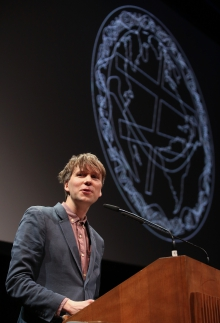 Kristoffer Gansing at the opening rally of transmediale 2018 face value
