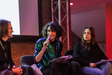 Yvonne Volkart, Isabel de Sena, and Christina Grammatikopoulou (from left to right) at the book presentation The Beautiful Warriors. Techno-Feminist Practice in the 21st Century