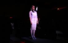 Marija Bozinovska Jones during her performance Fascia 18100619013 at transmediale 2019