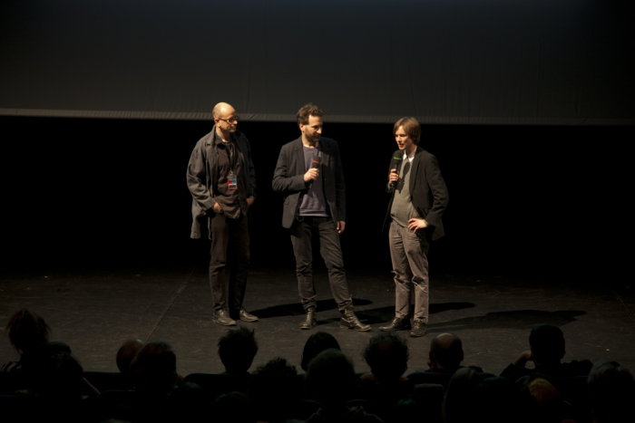 """Picture of Robert Henke, Jan Rohlf and Kristoffer Gansing (left to right) introducing """"Lumiére"""""""