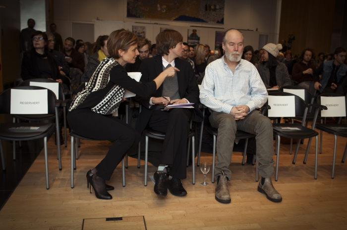 """Picture of Kristoffer Gansing (center) and Douglas Coupland (left) at the 2014 Marshall McLuhan Lecture """"Space Junk"""""""