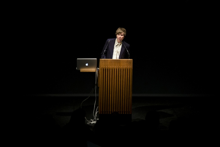 Kristoffer Gansing at the opening ceremony of transmediale 2012 in/compatible