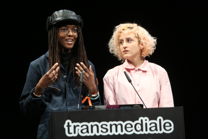 Hyphen-Labs during the panel Reworking the Brain at transmediale 2019
