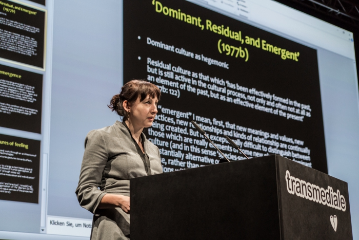 Rebecca Coleman during the keynote conversation Collective Moods in Precarious Times at transmediale 2019