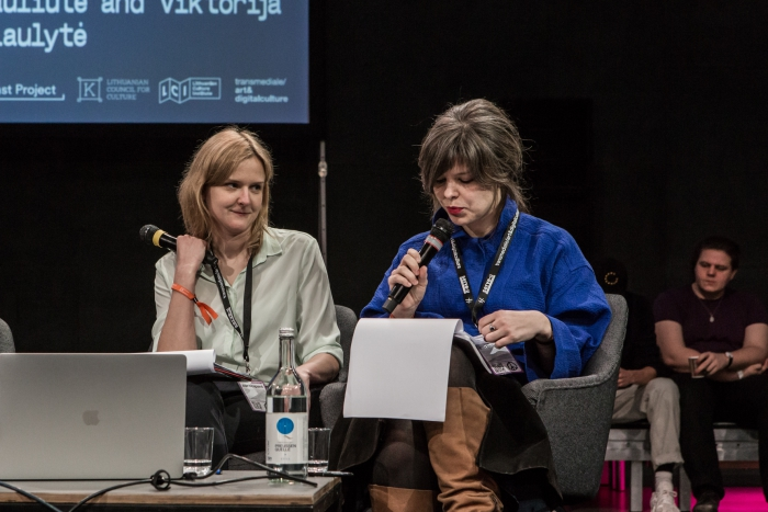 Viktorija Šiaulytė and Marta Dauliūtė during the discussion How to Disrupt Yourself: Life in the Entrepreneurial Home at transmediale 2019