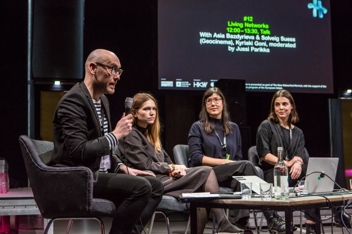Jussi Parikka, Asia Bazdyrieva & Solveig Suess (Geocinema), and Kyriaki Goni (left to right) during the talk Living Networks