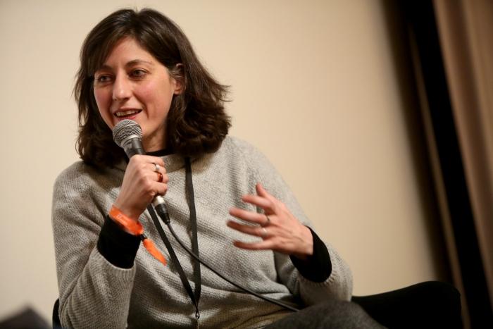 Maha Maamoun during the Q&A of Breathing Solidarity